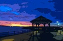 MILFORD HAVEN BANDSTAND AND SUNSET  , PEMBROKESHIRE, WALES, UK.