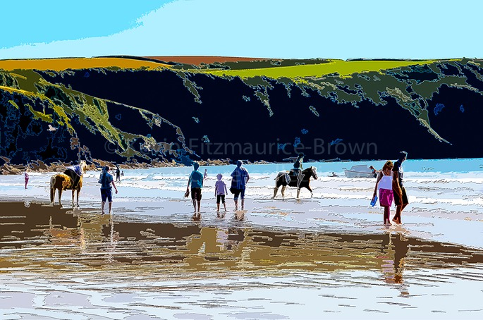 BROAD HAVEN BEACH ( north ) WITH PONIES