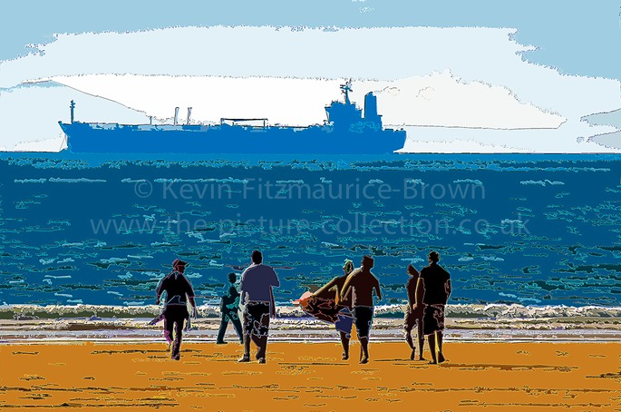 BROAD HAVEN BEACH ( north ) PEOPLE AND TANKER