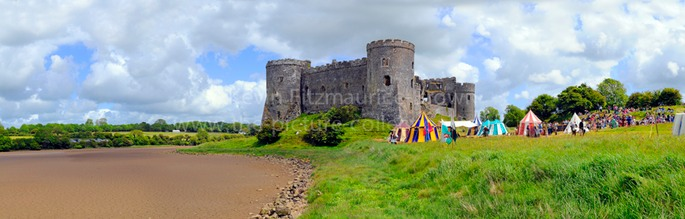 CAREW CASTLE, WALES, UK. PANORAMIC